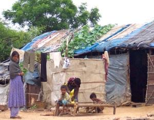 Slum in Delhi, India