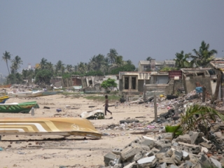 Beach village in Sri Lanka devastated by the Tsunami